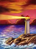 创意手绘图 手绘图像 电脑合成图像 卡通漫画 日落, 灯塔