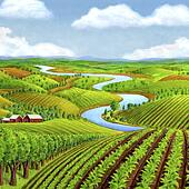 Stock Illustration of Farm Landscape with Stream and Clouds ...