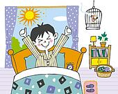 Boy waking up in the morning  Painting  Illustration  Illustrative    Clipart Boy Waking Up In The Morning